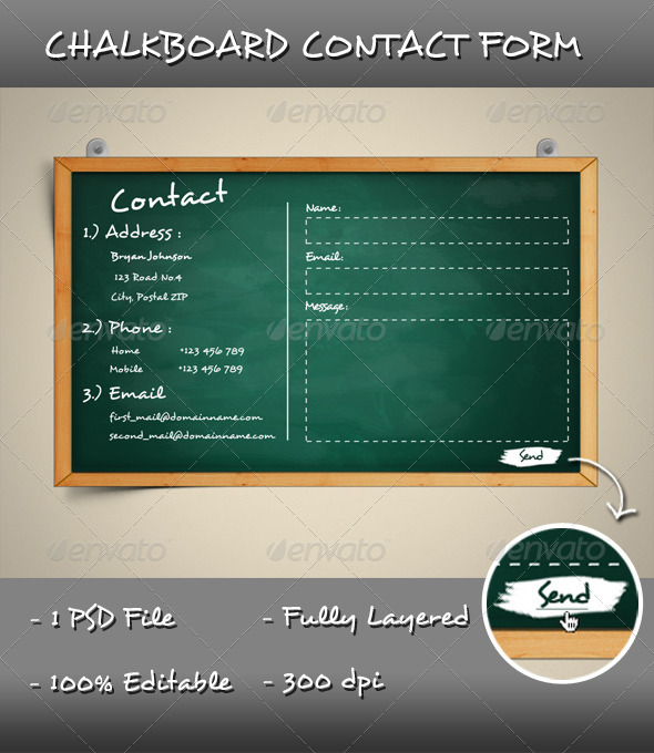 Graphic River Chalkboard Contact Form Web Elements -  Forms 1920426