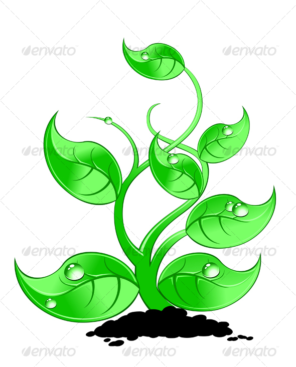 Graphic River Green plant with drops Vectors -  Conceptual  Nature 74281