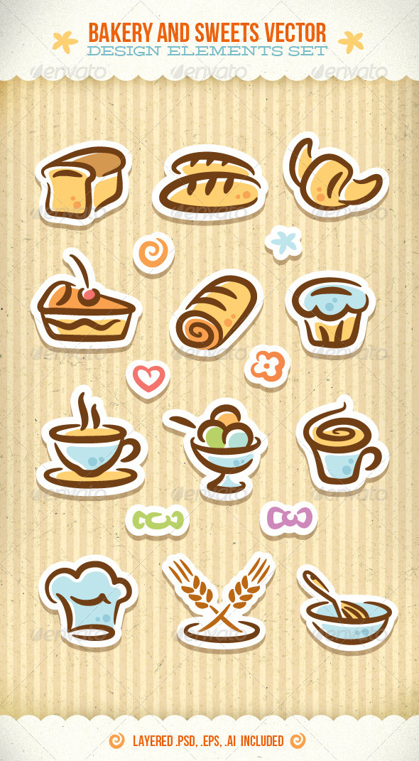 GraphicRiver Bakery And Sweets Vector Design Elements Set 1930339