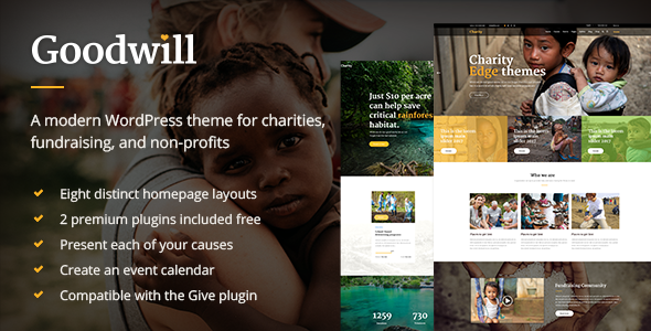 goodwill a multipurpose charity non profit and fundraising theme by edge themes. Black Bedroom Furniture Sets. Home Design Ideas