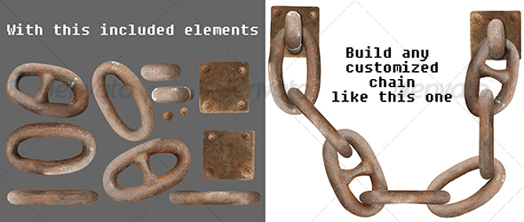 Graphic River Rusty chain parts Isolated Objects -  Industrial & Science 74828