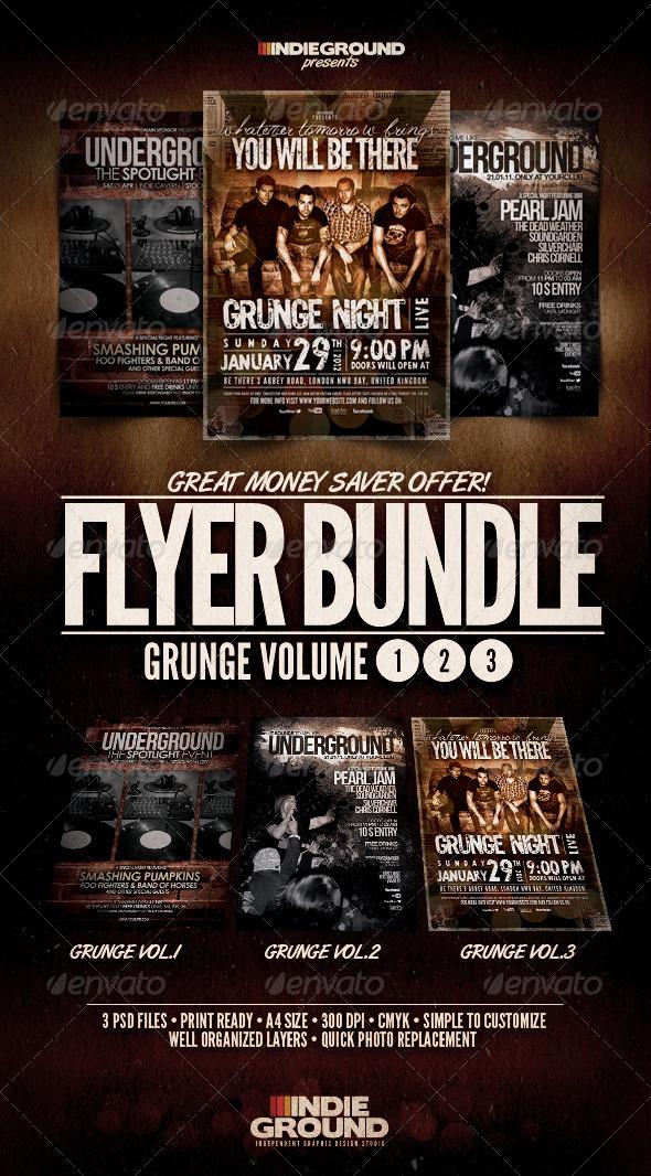GraphicRiver Grunge Flyer Poster Bundle Vol 1-3 1270785