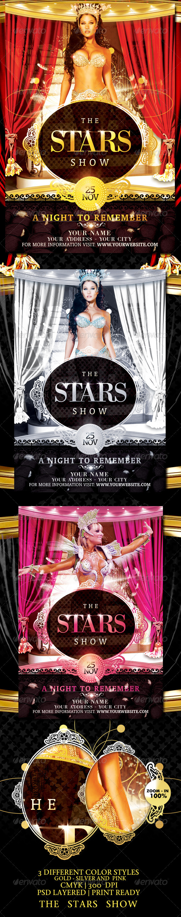 Graphic River The Stars Show Flyer Template Print Templates -  Flyers  Events  Clubs & Parties 699381