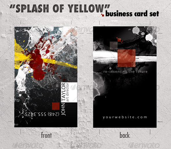 GraphicRiver Business card template Splash of Yellow 75294