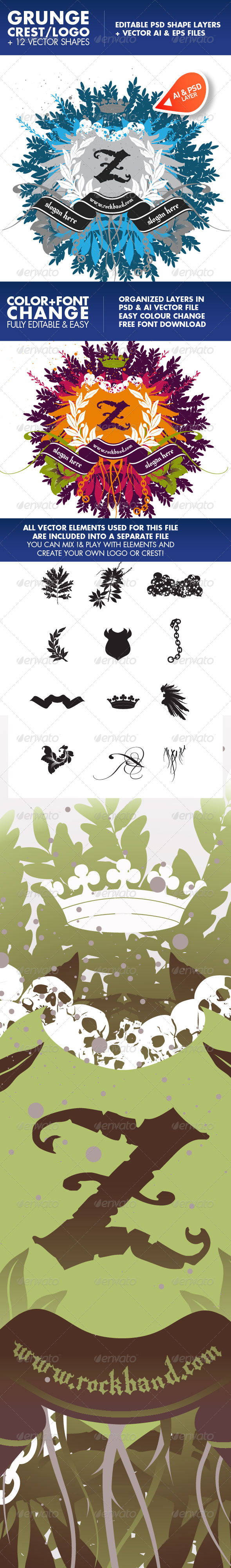 GraphicRiver Rockcrest A vector & psd crest logo and elements 227750