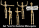 Five Isolated Artist Wood Models/Mannequins (set 2) - GraphicRiver Item for Sale