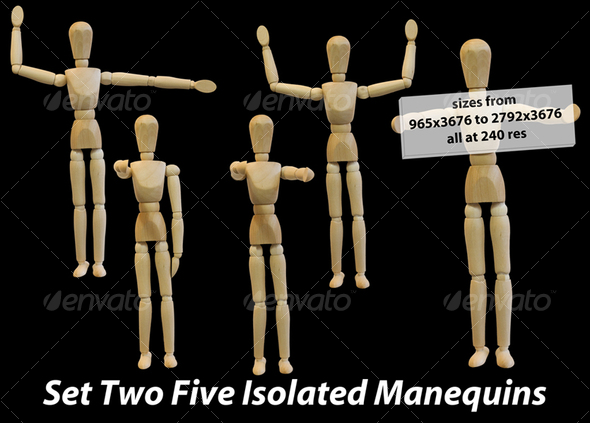 Graphic River Five Isolated Artist Wood Models/Mannequins set 2  Isolated Objects -  Activities & Leisure 75423