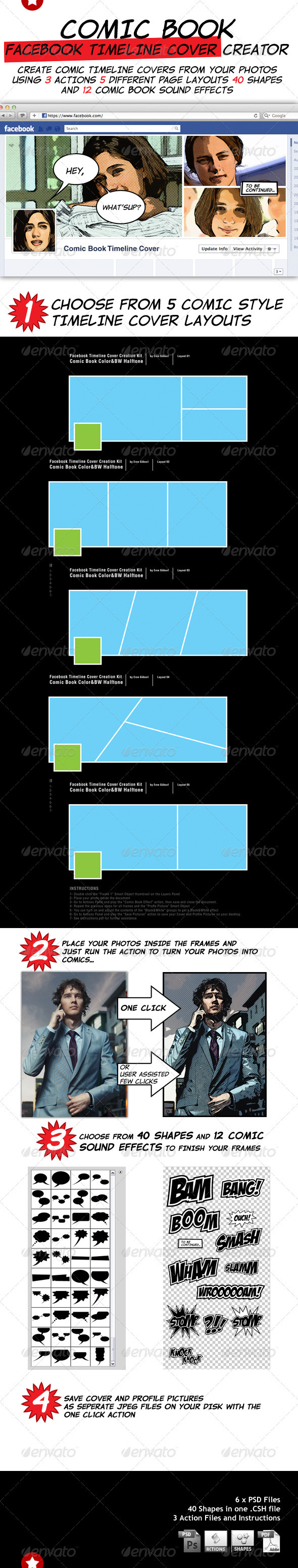 GraphicRiver Comic Book Facebook Timeline Cover Creation Kit 1958635