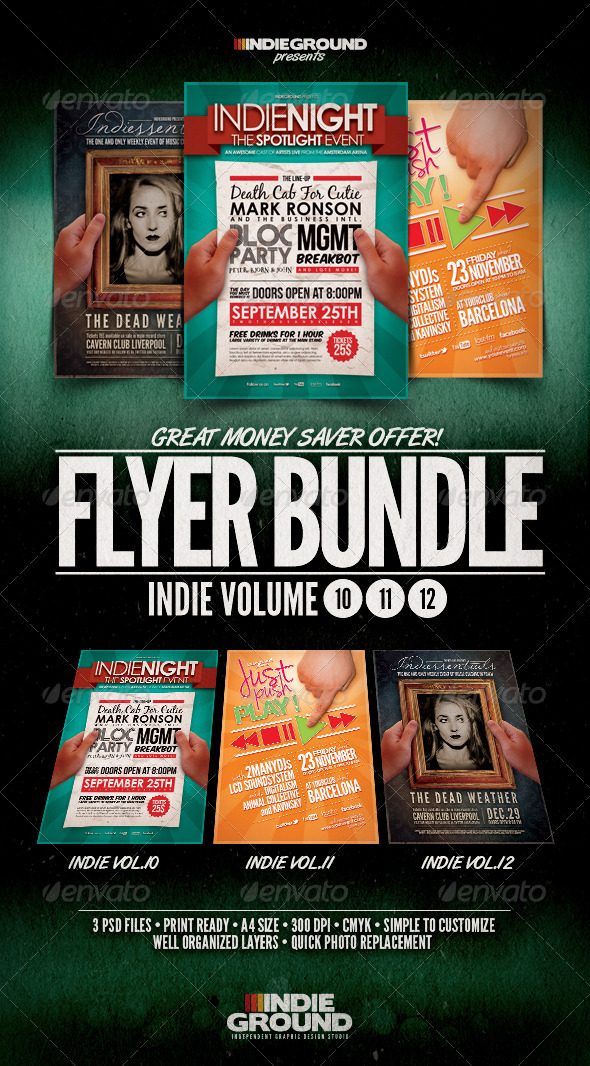 Graphic River Indie Flyer/Poster Bundle Vol 10-12 Print Templates -  Flyers  Events  Clubs & Parties 914137