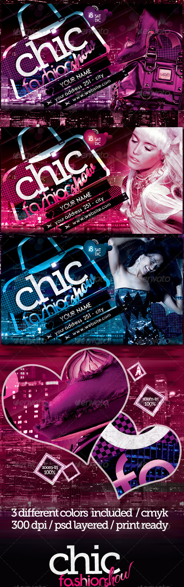 Graphic River Chic Fashion Show Flyer Template Print Templates -  Flyers  Events  Clubs & Parties 820479