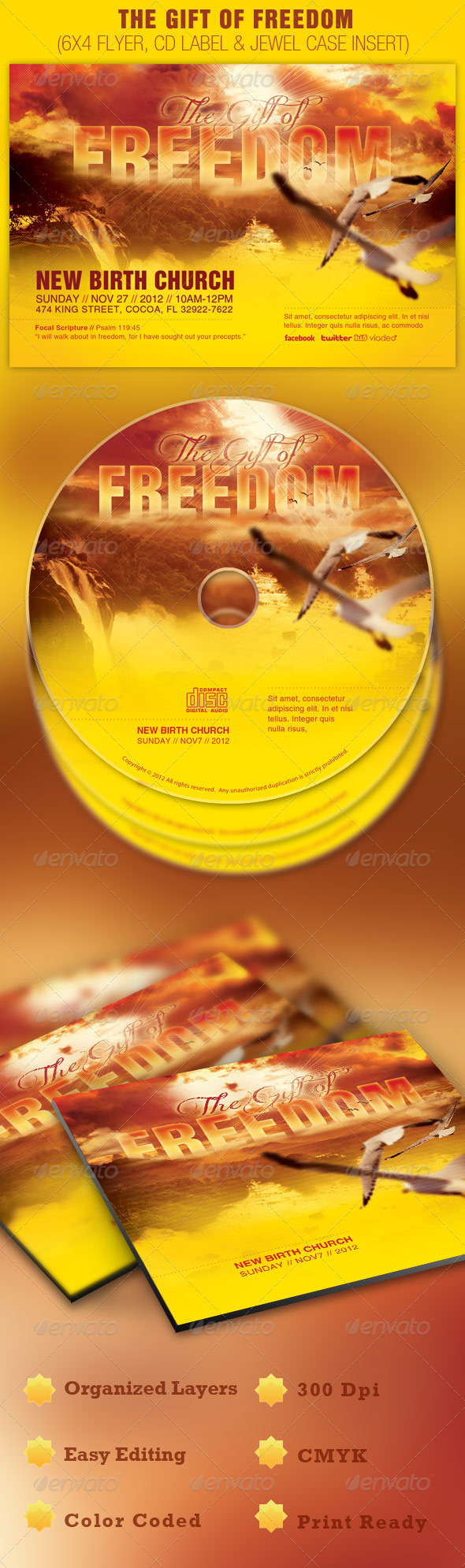GraphicRiver The Gift of Freedom Flyer and CD Template 678111