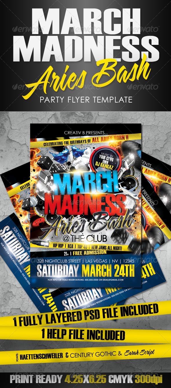 GraphicRiver March Madness Aries Bash Flyer Template 1947856