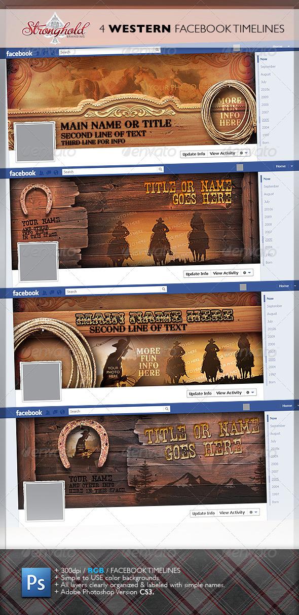 GraphicRiver 4 Western Vintage Facebook Timelines 1965358