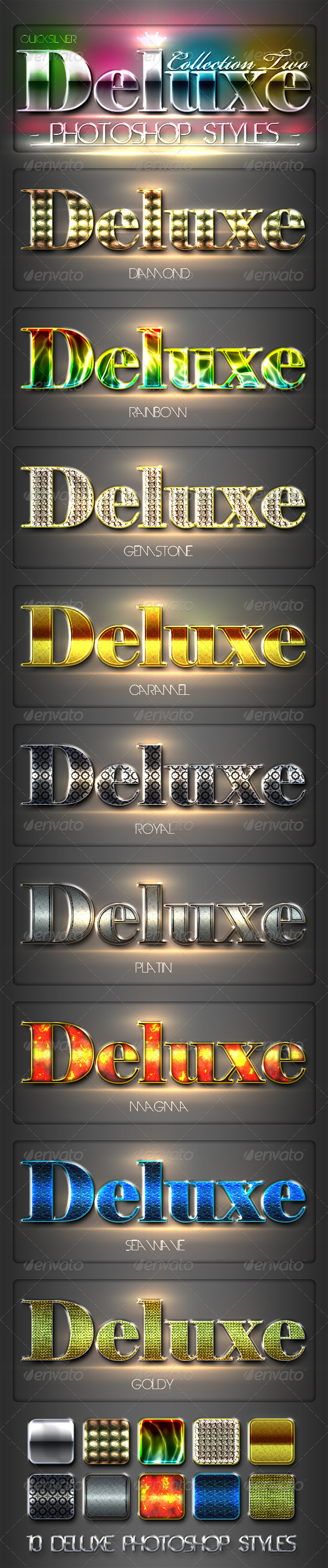 GraphicRiver 10 DeLuxe Photoshop Layer Styles Collection 2 1965359