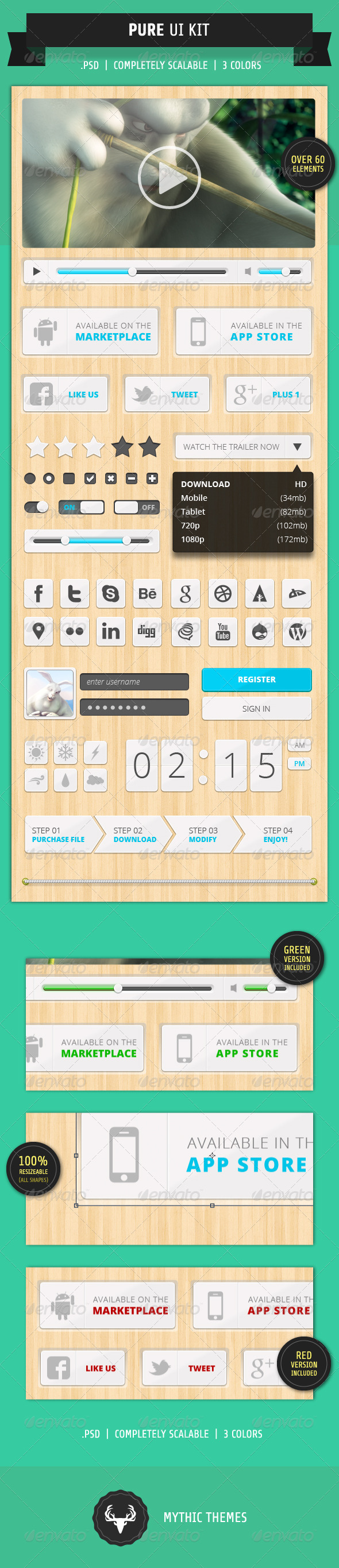 GraphicRiver Pure Modern & Clean UI Kit 1936450