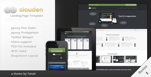 ThemeForest Clouden Responsive Landing One Page Template 1969702