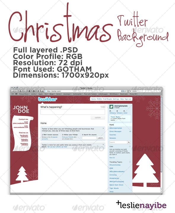 GraphicRiver Christmas Twitter Background 76261