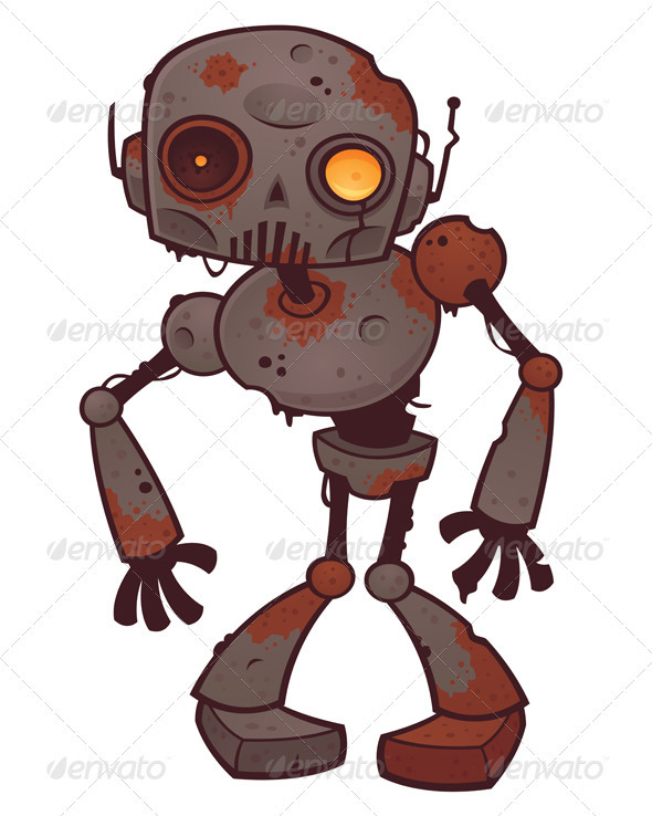 Graphic River Rusty Zombie Robot Vectors -  Characters 1993681