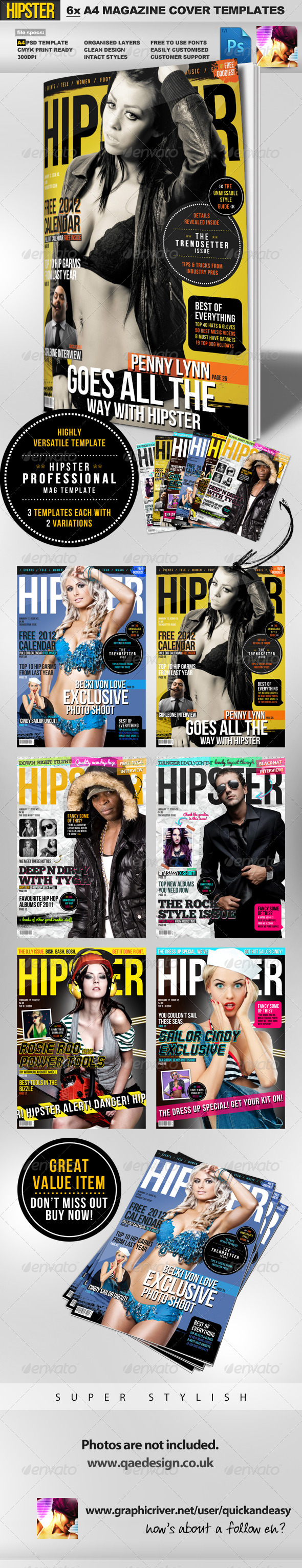 GraphicRiver Hipster A4 Magazine Cover Templates 1394311