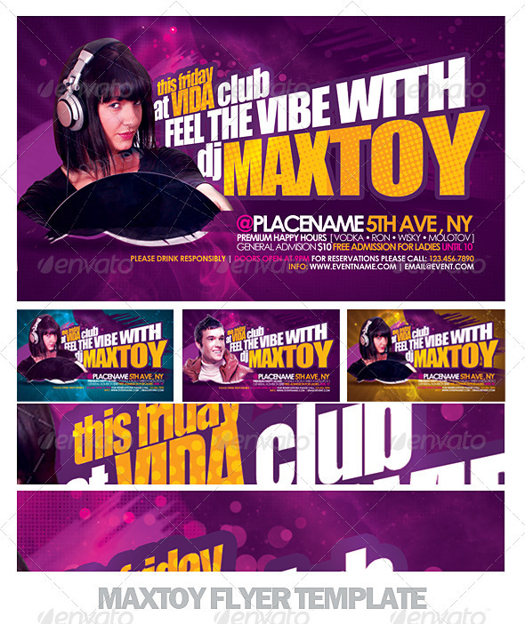 Graphic River Maxtoy Dance Flyer Template Print Templates -  Flyers  Events  Clubs & Parties 726903