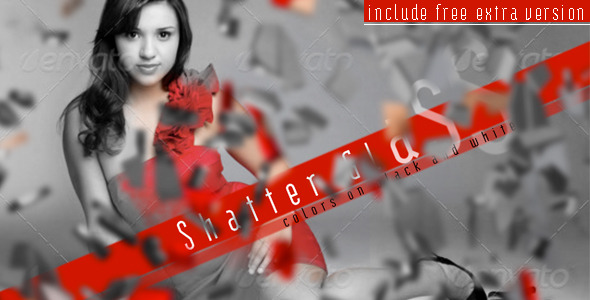 VideoHive Shatter Glass Colors On Black And White 1969553