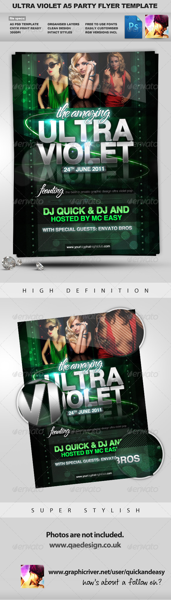 GraphicRiver Ultra Violet Bright Night Club A5 Flyer Template 243751