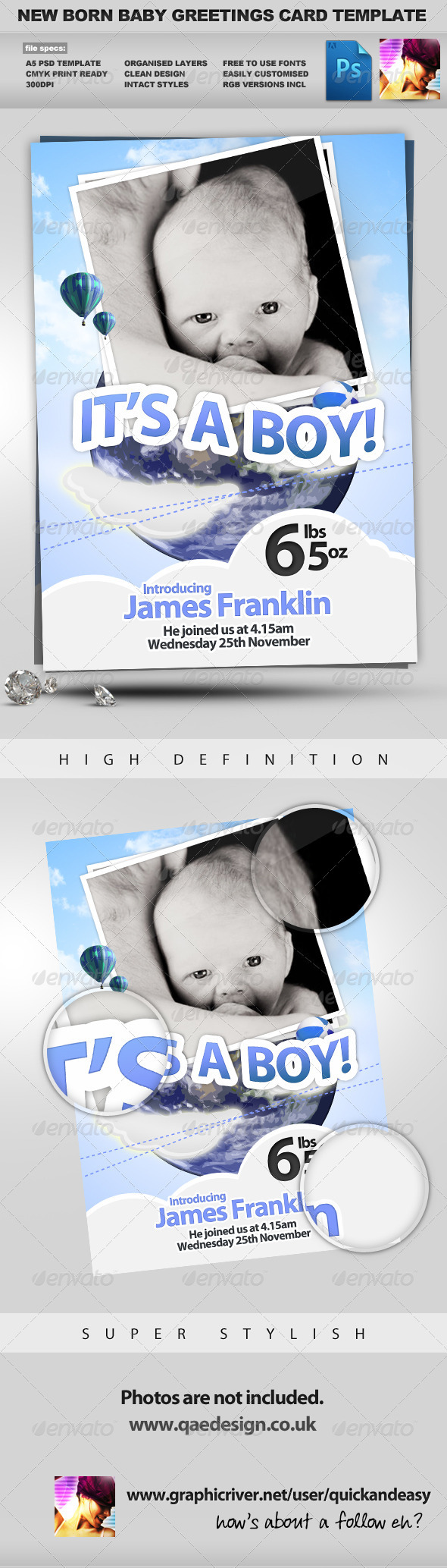 Graphic River New Born Baby Greeting Card Print Templates -  Cards & Invites  Family 858367