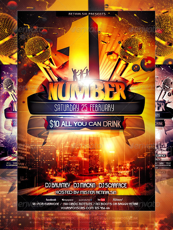 Graphic River NumberOne Party Flyer Template Print Templates -  Flyers  Events  Clubs & Parties 1506488