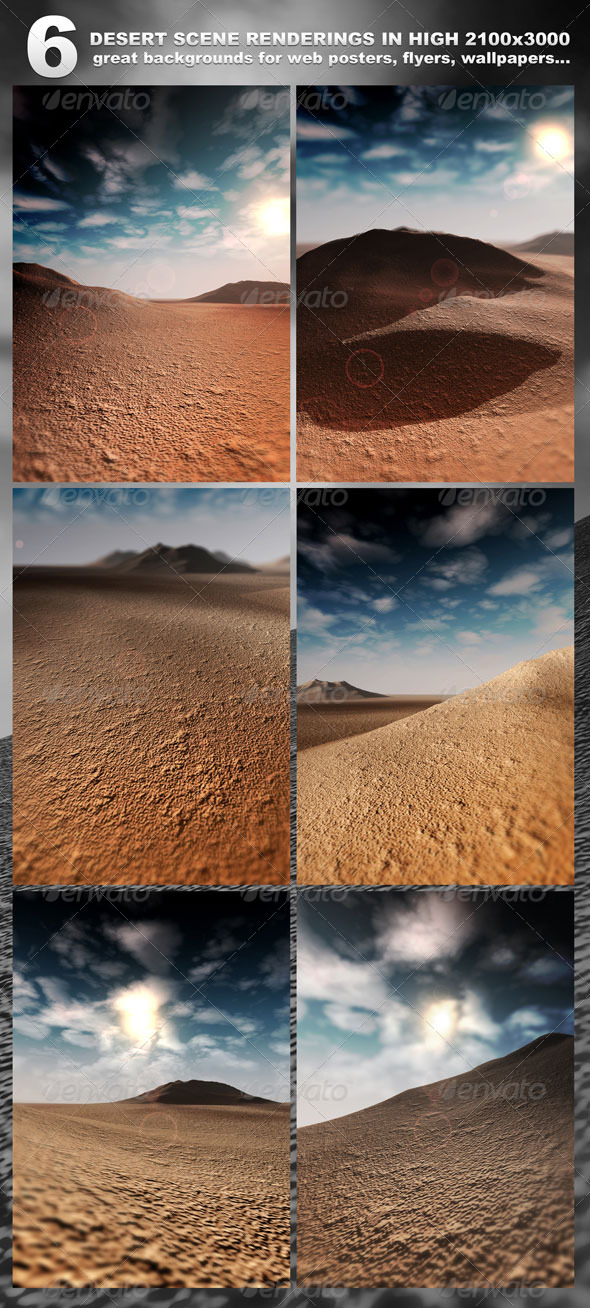 GraphicRiver 6 Desert Scenes in 2100x3000 rendered 232878