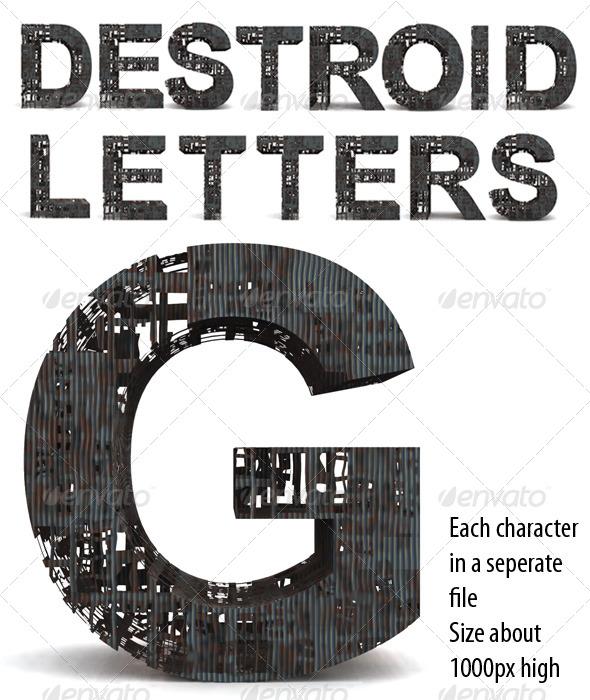 GraphicRiver Destroid Letters 233212