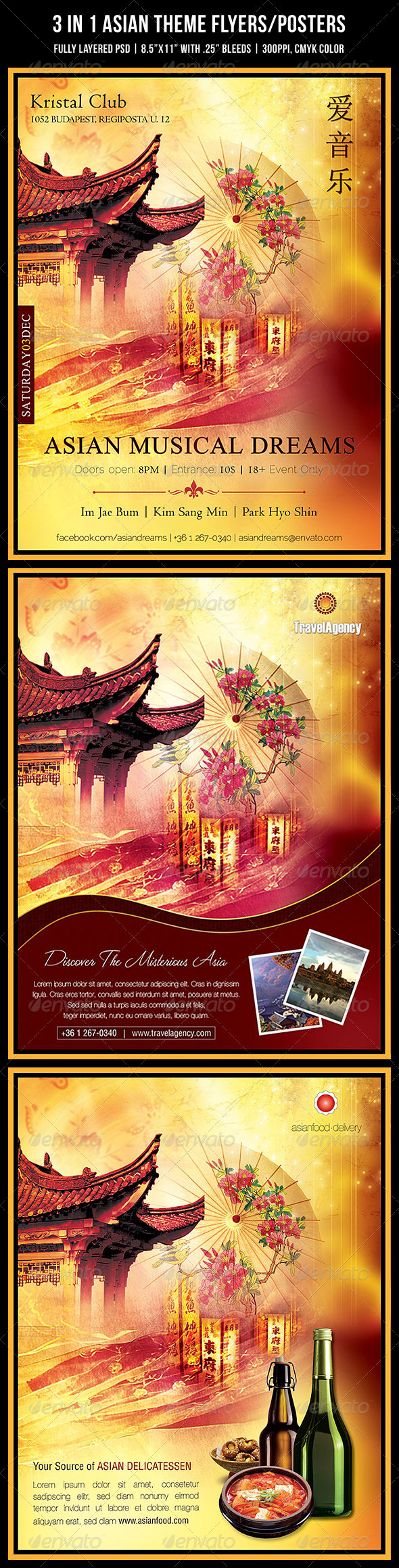GraphicRiver 3 in 1 Asian Theme Poster Flyer 891074