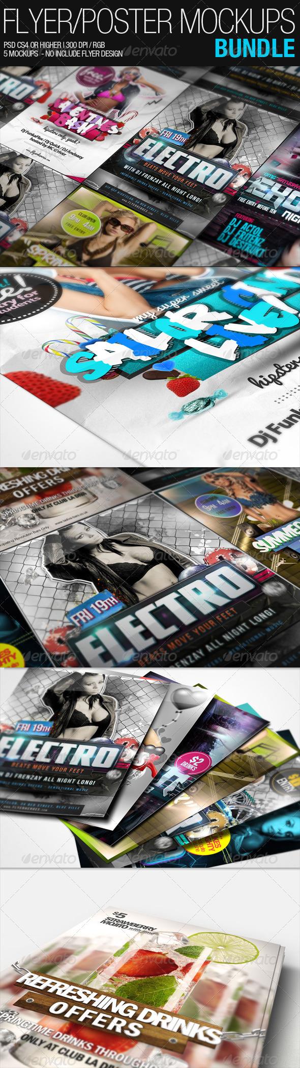 GraphicRiver Flyer Poster Mockups Bundle 1395844