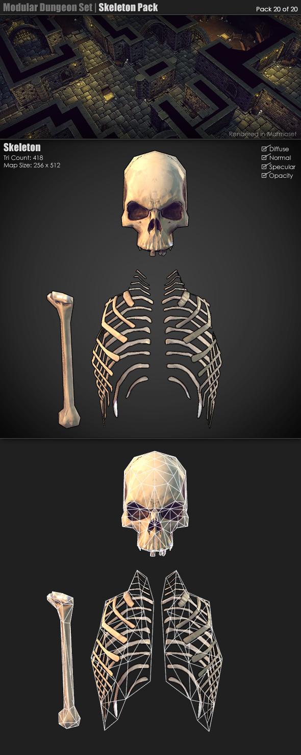 3DOcean Modular Dungeon Set Skeleton Pack 20 of 20  3D Models -  Fantasy and Fiction 233387