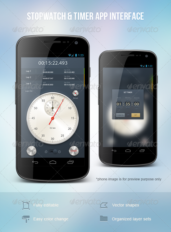 GraphicRiver Stopwatch & Timer App Interface 1988316