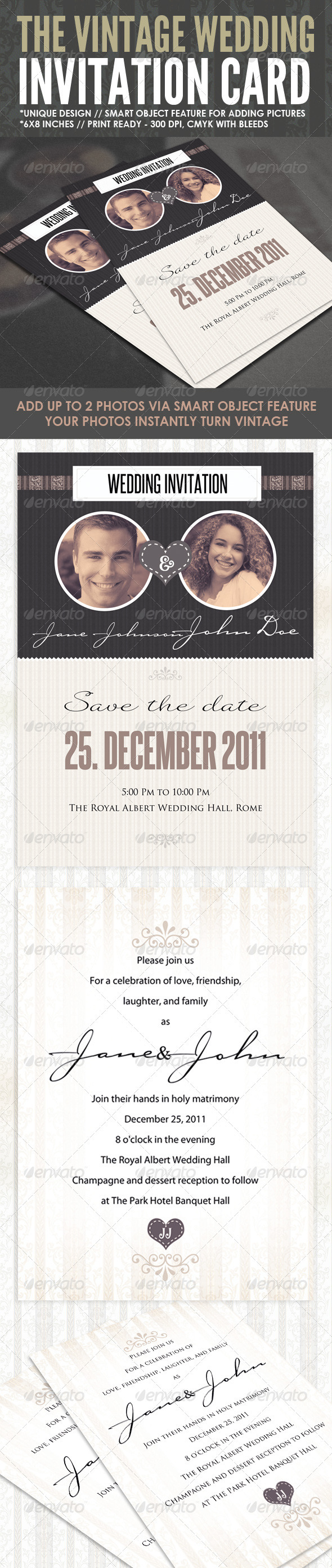 GraphicRiver The Vintage Wedding Card 908345