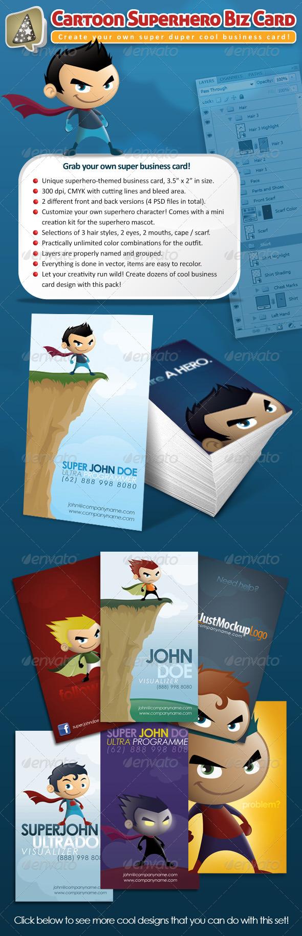 GraphicRiver Cartoon Superhero Business Card Maker 232170