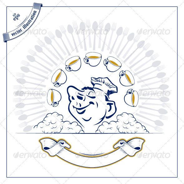 Graphic River Cook Man Emblem Vectors -  Characters  People 2010530