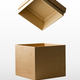Open cardboard box carton container with reflection isolated on white background - PhotoDune Item for Sale