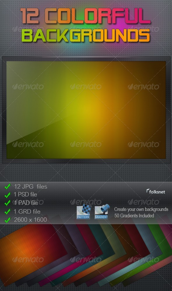 GraphicRiver 12 Colorful Backgrounds 116303
