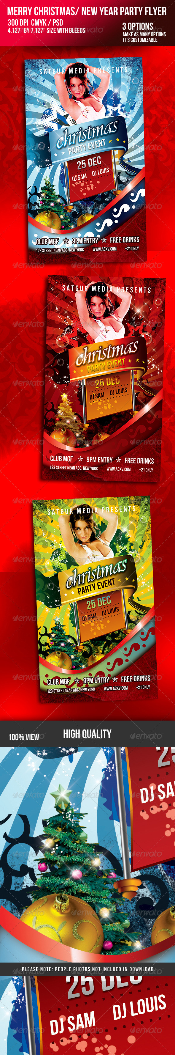 GraphicRiver Christmas New Year Music Dance Party Night Flyer 725058