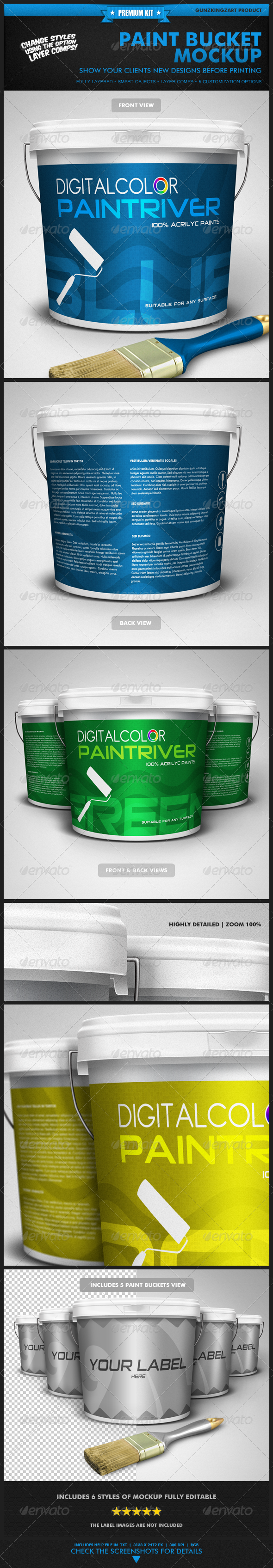 GraphicRiver Paint Bucket Mockup Premium Kit 1991123