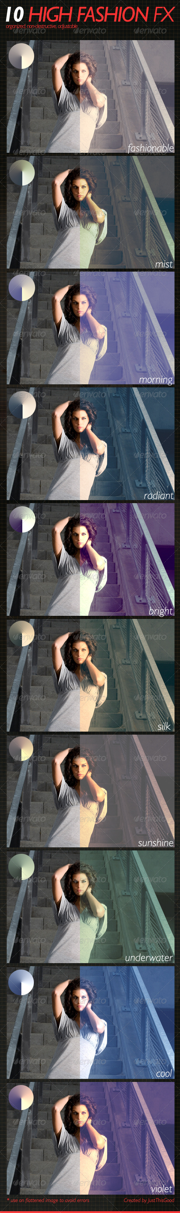 Graphic River 10 High Fashion Fx Add-ons -  Photoshop  Actions  Photo Effects 2022443