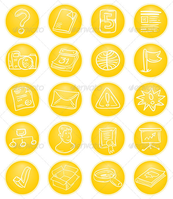 Graphic River Yellow CMS icons Vectors -  Conceptual  Technology  Web 2024213