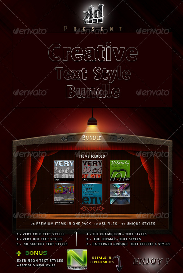 Graphic River Creative Text Styles Bundle  Add-ons -  Photoshop  Styles  Text Effects 235247