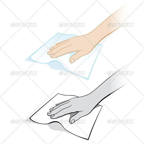 Graphic River Two variants of a womans hand with a rag Vectors -  Characters  People 2032195