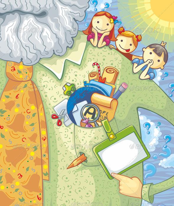 Graphic River Teacher And Schoolchildren Vectors -  Conceptual 2032541