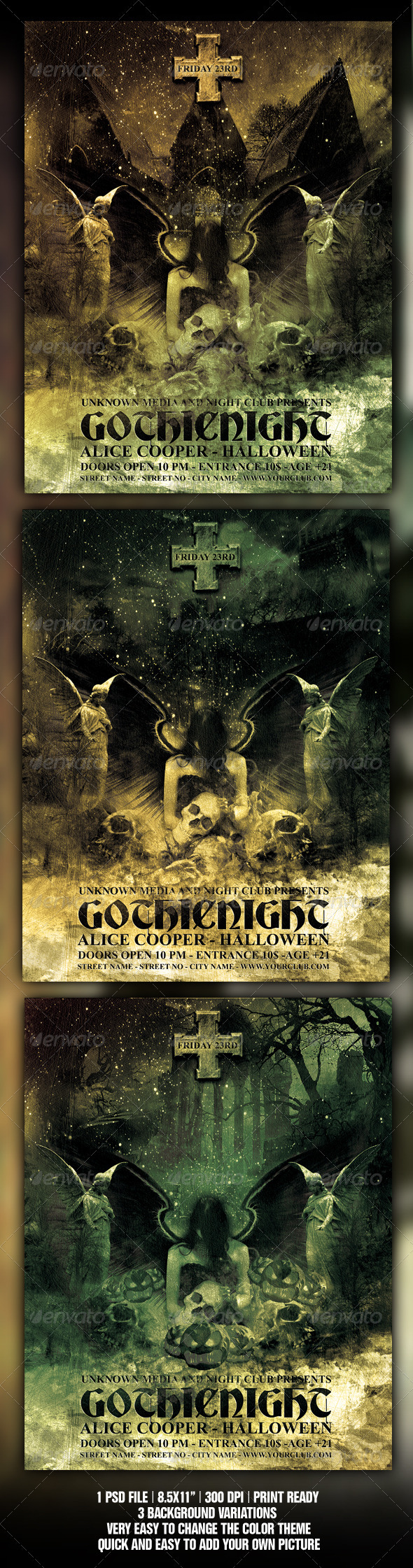 GraphicRiver Halloween Gothic Party Flyer Poster Template 459984