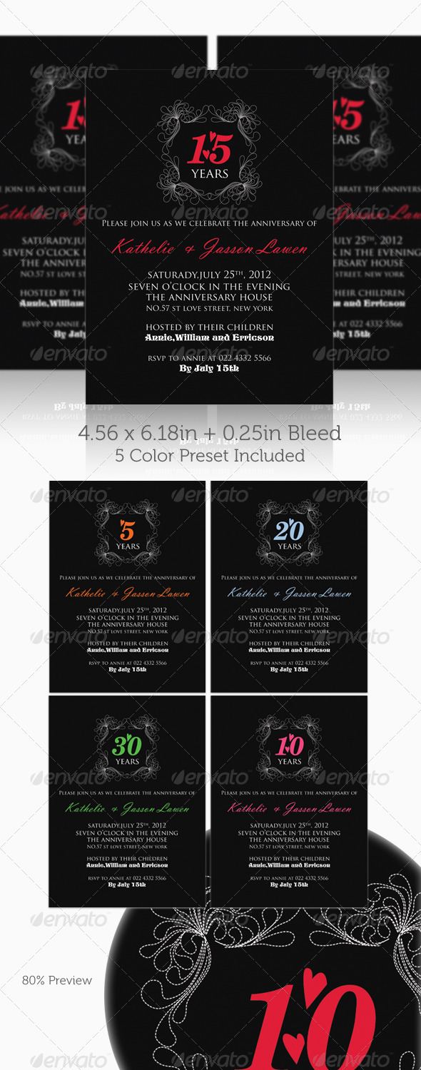 GraphicRiver Anniversary Invitation Template Vol.01 236292