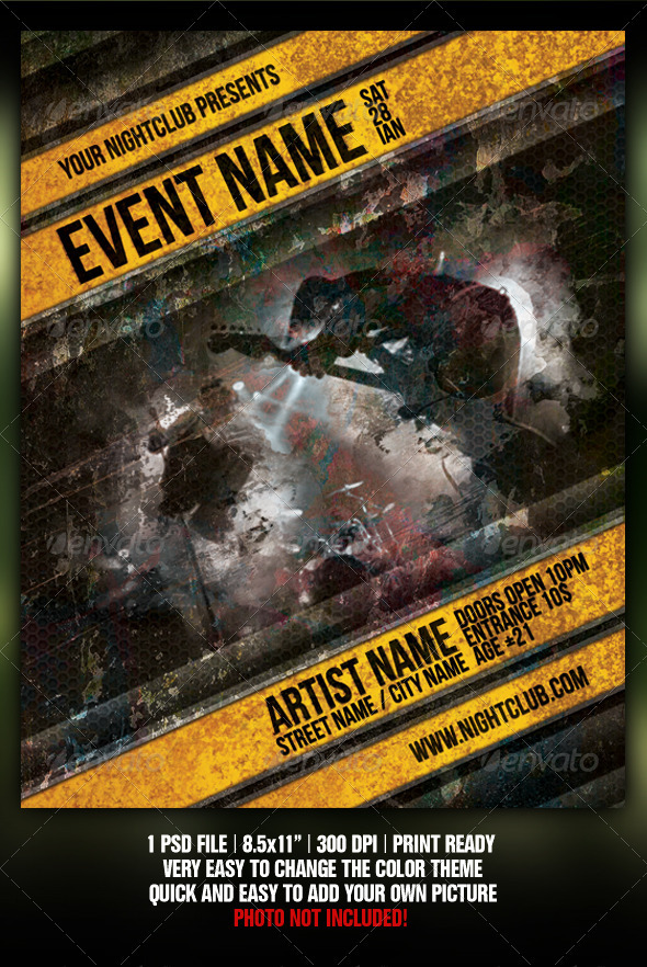 Graphic River Grunge Night Club Party/Concert Flyer/Poster V2 Print Templates -  Flyers  Events  Clubs & Parties 301762