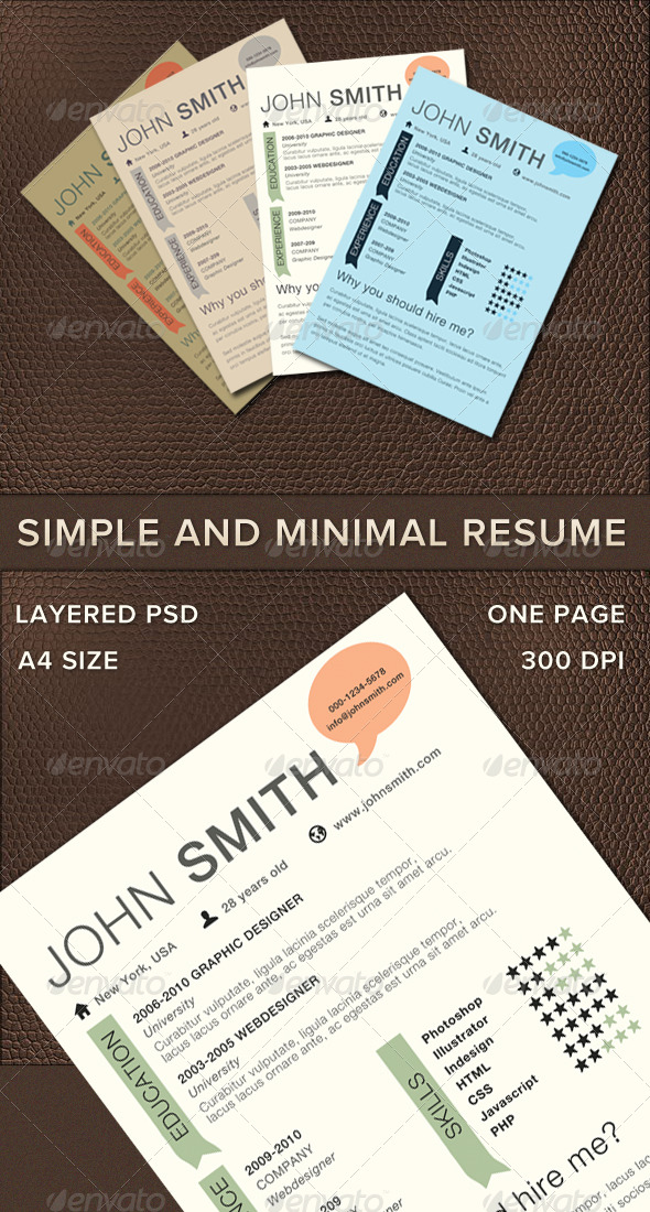 Graphic River Simple And Minimal Resume Print Templates -  Stationery  Resumes 236386